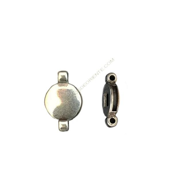 Entrepieza pasador de aleación de Zinc redondo con dos anillas 29 x 18 mm plateada
