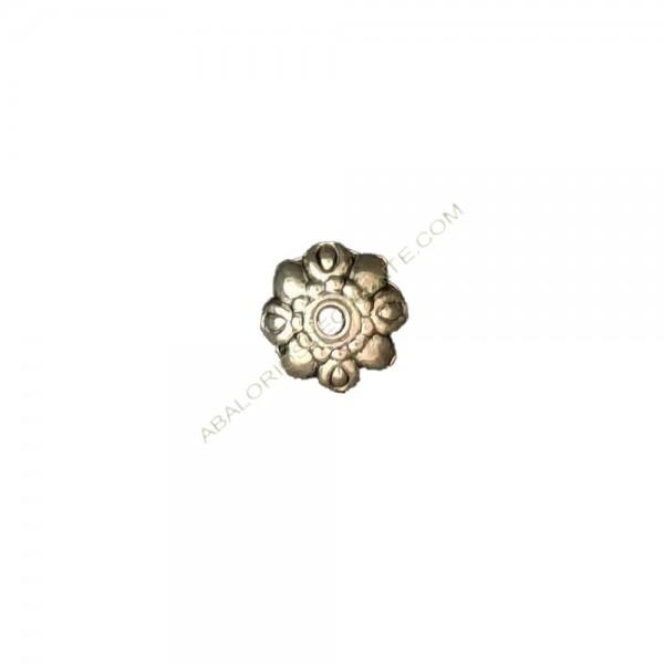 Entrepieza de Zamak capuchón flor 10 mm plateado