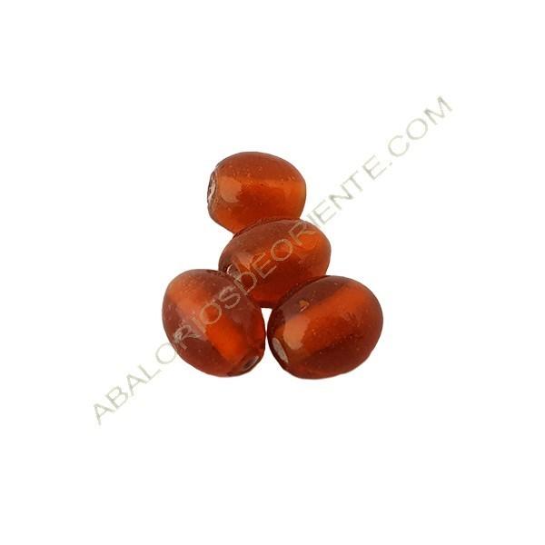 Cuenta oval india naranja de 11 x 9 mm