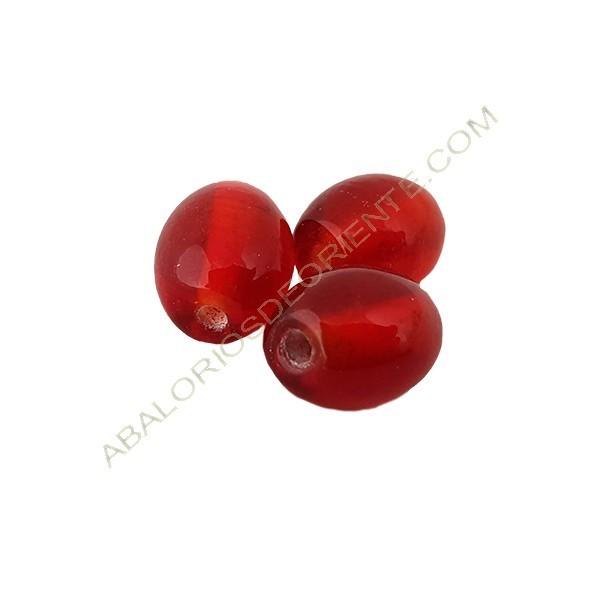 Cuenta oval india roja 13 x 10 mm
