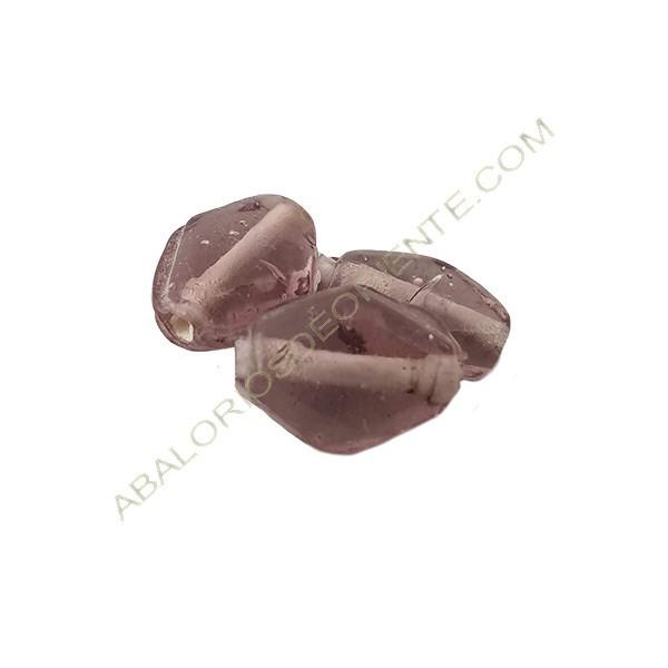 Cuenta de cristal indio rombo gris 13 x 10 mm