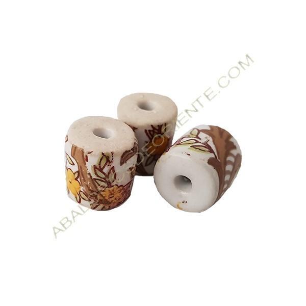 Cilindro cerámica con flores