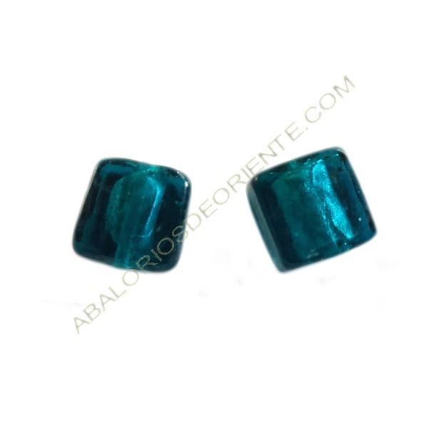 Cuenta de cristal de Murano cuadrada verde mar 12 mm