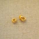 Entrepieza de aleación de Zinc redonda aplanada chapada en oro de 24 K. 3,3 x 7mm
