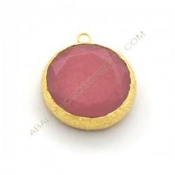 Colgante redondo dorado de Jade de 25 mm rosa fucsia