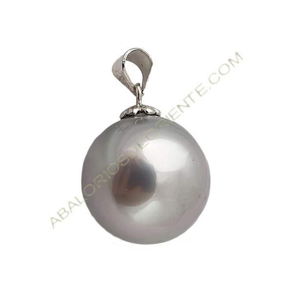 Colgante perla redonda gris 24 x 16 mm