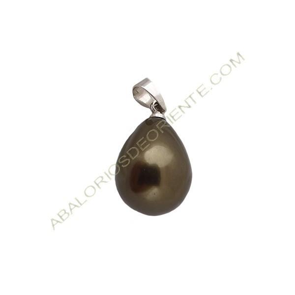 Colgante de perla en forma de lágrima de color gris verdoso de 24 x 12 mm con una arandela de 5 x 4 mm.