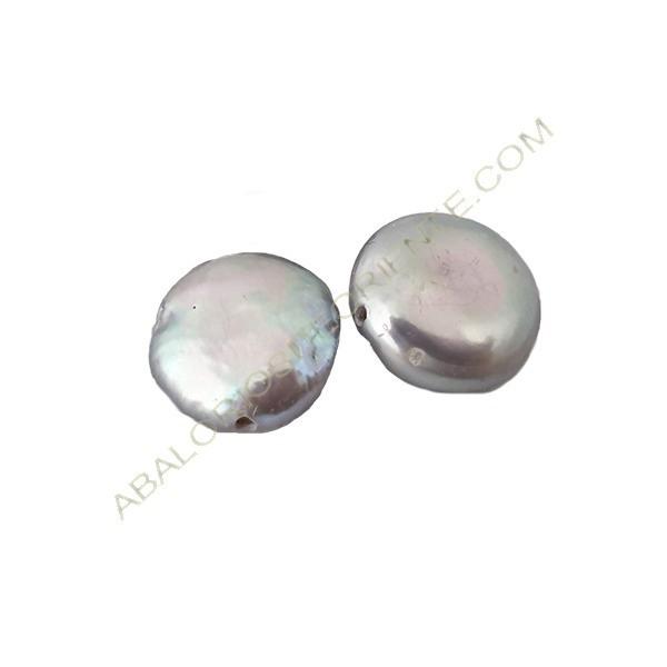 Perla barroca irregular gris 15 x 12 mm