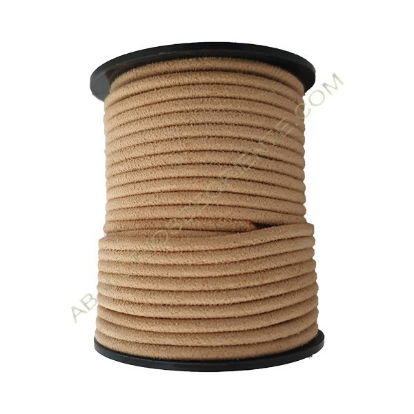 Cordón de antelina perfil redondo de 3 mm beige