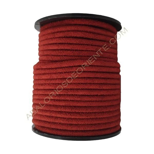 Cordón de antelina perfil redondo de 3 mm burdeos