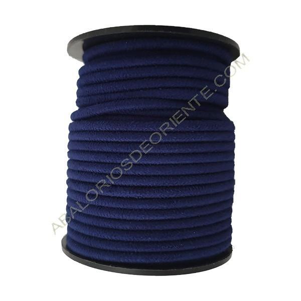 Cordón de antelina perfil redondo de 3 mm azul marino