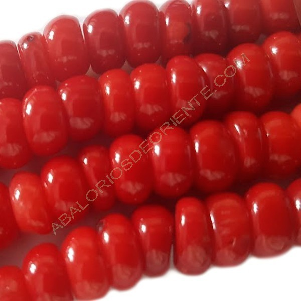 Coral natural rondel 5-6 x 8 x 8 mm