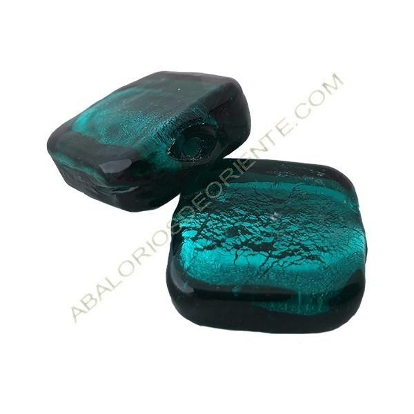 Cuenta de cristal de Murano cuadrado verde 21 mm