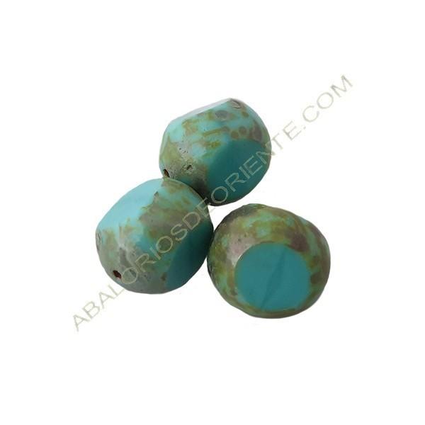 Cuenta de cristal de Bohemia bola cortada tres caras turquesa de 12 mm