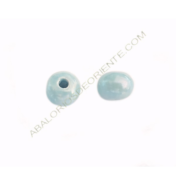 Cuenta de cerámica de 18 mm azul cielo