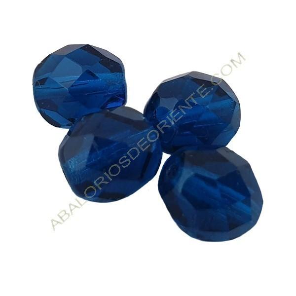 Cristal checo facetado 6 mm azul capri