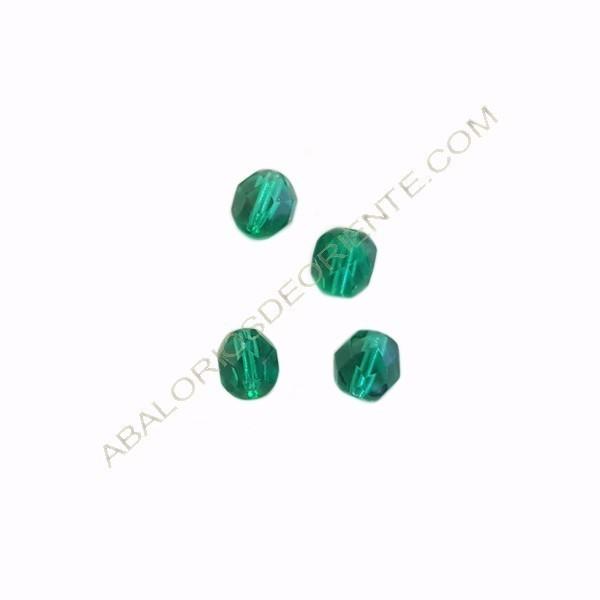 Cristal checo facetado 6 mm verde esmeralda
