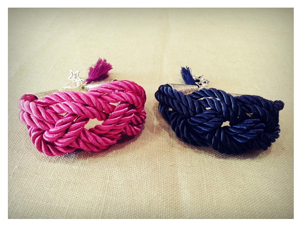 Pulseras marineras azul y rosa