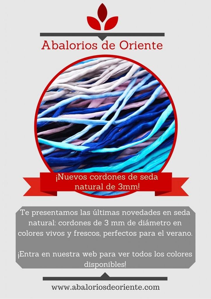 Nuevos cordones de seda natural de 3mm