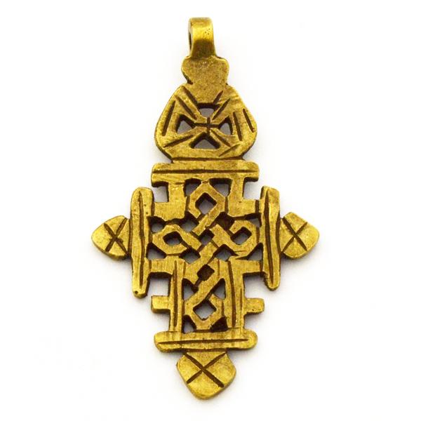AF107 - Cruz copta de bronce - Metal africano