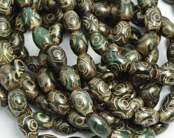 Ágatas tibetanas Dzi barril marrón y verde