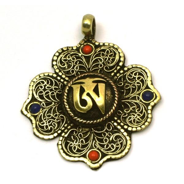 Colgante con filigranas bronce con símbolo OM tibetano
